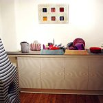 Kitchen area 1 - Fabric and mixed media installation