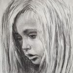 Charcoal drawing of young boy Stanley with long blonde hair