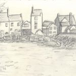Pencil sketch of distant houses at Black Country Museum