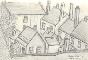 Pencil sketch overlooking houses at Black Country Museum