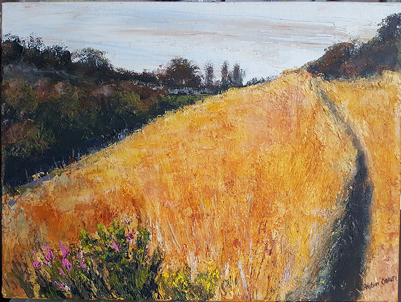 Acrylic painting of a summer's evening at Fens Nature Reserve, Dudley