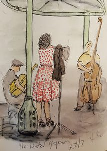 Ink and watercolour sketch of The Water Gypsies at jazz festival